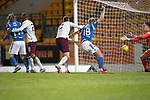 St Johnstone v Hearts…30.10.19   McDiarmid Park   SPFL<br />The ball ends up in the net to give saints the lead from a Christophe Berra own goal<br />Picture by Graeme Hart.<br />Copyright Perthshire Picture Agency<br />Tel: 01738 623350  Mobile: 07990 594431