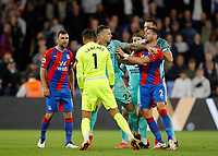 27th September 2021;  Selhurst Park, Crystal Palace, London, England; Premier League football, Crystal Palace versus Brighton & Hove Albion: James McArthur of Crystal Palace tussles with Goalkeeper Robert Sanchez of Brighton while Shane Duffy of Brighton pushes away Joel Ward of Crystal Palace after the final whistle