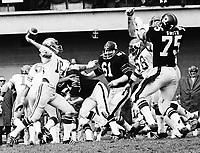 Jerry Keeling Calgary Stampeders quarterback 1972, Against the Ottawa Rough Riders. Copyright photograph Scott Grant