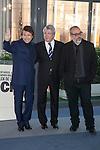 Singer Raphael, producer Enrique Cerezo and director Alex de la Iglesia pose during `Mi gran noche´ film presentation in Madrid, Spain. February 20, 2015. (ALTERPHOTOS/Victor Blanco)