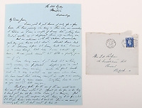 BNPS.co.uk (01202) 558833. <br /> Pic: C&TAuctions/BNPS<br /> <br /> Pictured: One of the letters Flight Sergeant Eric Redfern sent to Joan. <br /> <br /> The poignant archive of a tragic Battle of Britain hero has been discovered in a suitcase.<br /> <br /> Flight Sergeant Eric Redfern had been married to Joan Preston for a few weeks when he was shot down and killed in 1941.<br /> <br /> The 27 year old Hurricane pilot was ambushed by German fighters during a raid on enemy supply vessels at Le Touquet in northern France.