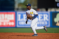 Michigan Wolverines second baseman Ako Thomas (4) during a game against Army West Point on February 18, 2018 at Tradition Field in St. Lucie, Florida.  Michigan defeated Army 7-3.  (Mike Janes/Four Seam Images)