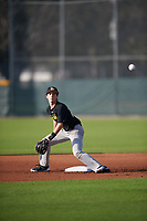 Logan Martin (22), from New Port Richey, Florida, while playing for the Pirates during the Baseball Factory Pirate City Christmas Camp & Tournament on December 28, 2017 at Pirate City in Bradenton, Florida.  (Mike Janes/Four Seam Images)