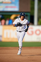 Kane County Cougars second baseman Jancarlos Cintron (1) rounds the bases after hitting a home run in the bottom of the second inning during a game against the West Michigan Whitecaps on July 19, 2018 at Northwestern Medicine Field in Geneva, Illinois.  Kane County defeated West Michigan 8-5.  (Mike Janes/Four Seam Images)