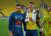 Phoenix's Stefan Marinovic and Oliver Sail after the A-League football match between Wellington Phoenix and Brisbane Roar at Westpac Stadium in Wellington, New Zealand on Saturday, 23 November 2019. Photo: Dave Lintott / lintottphoto.co.nz