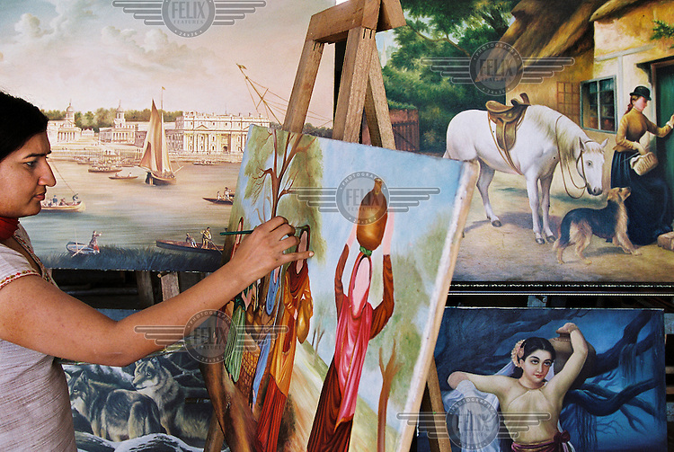 An artist in the Star Art Studio in Ludhiana, a town on the Grand Trunk Road, works on a painting depicting idealised Punjabi scenes. These are made for export to expatriates in the UK, and former NRIs (non-resident Indians) wanting to decorate their homes in India.