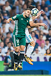 Riza Durmisi of Real Betis heads the ball during the La Liga 2017-18 match between Real Madrid and Real Betis at Estadio Santiago Bernabeu on 20 September 2017 in Madrid, Spain. Photo by Diego Gonzalez / Power Sport Images