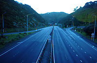 State Highway One, Ngauranga Gorge at 7.30am, Wednesday during Level 4 lockdown for the COVID-19 pandemic in Wellington, New Zealand on Thursday, 19 August 2021.