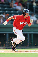 Designated hitter Kevin Mager (24) of the Greenville Drive in a game against the Augusta GreenJackets on Sunday, July 13, 2014, at Fluor Field at the West End in Greenville, South Carolina. Greenville won, 8-5. (Tom Priddy/Four Seam Images)