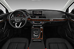 Stock photo of straight dashboard view of a 2018 Audi Q5 Design 5 Door SUV