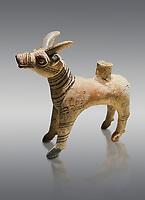 Bronze Age Anatolian terra cotta antilope shaped ritual vessel- 19th to 17th century BC - Kültepe Kanesh - Museum of Anatolian Civilisations, Ankara, Turkey. Against a grey background.