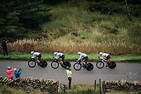 Team SKY<br /> <br /> Time Trial through the magnificent Lake District National Park in Cumbria<br /> <br /> Stage 5 (TTT): Cockermouth to Whinlatter Pass (14km)<br /> 15th Ovo Energy Tour of Britain 2018
