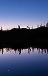 USA, OR, Deschutes and Ochoco NF, Crescent Moon Over Sparks Lake