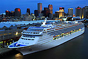 Norwegian Sun cruise ship entered the Port of New Orleans before dawn as the first cruise ship to homeport in New Orleans since Hurricane Katrina, Sun., Oct. 15, 2006.<br /> (AP Photo/Cheryl Gerber)