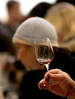 Ultima giornata del Roma Wine Festival, 2 marzo 2008..A person holds a glass of wine at the Rome Wine Festival, 2 march 2008..UPDATE IMAGES PRESS/Riccardo De Luca