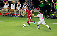 Carson, CA - Thursday August 03, 2017: Alex Morgan, Aya Sameshima during a 2017 Tournament of Nations match between the women's national teams of the United States (USA) and Japan (JAP) at StubHub Center.
