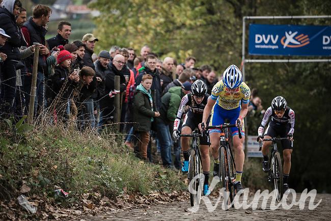 Later race winner Kim Van de Steene (BEL/Tarteletto Isorex) up the Koppenberg. <br /> <br /> <br /> women's race.<br /> Koppenbergcross Belgium 2018
