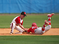 New Castle Hurricanes second baseman Donte Micaletti (22) tags Gabriel Gutierrez (25) sliding in during the IMG National Classic on March 29, 2021 at IMG Academy in Bradenton, Florida.  (Mike Janes/Four Seam Images)