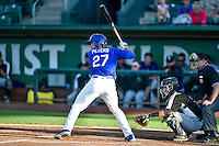 DJ Peters (27) of the Ogden Raptors at bat against the Grand Junction Rockies in Pioneer League action at Lindquist Field on August 25, 2016 in Ogden, Utah. The Rockies defeated the Raptors 12-3. (Stephen Smith/Four Seam Images)