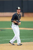 Wake Forest Demon Deacons shortstop Bruce Steel (17) on defense against the Miami Hurricanes at Wake Forest Baseball Park on March 22, 2015 in Winston-Salem, North Carolina.  The Demon Deacons defeated the Hurricanes 10-4.  (Brian Westerholt/Four Seam Images)