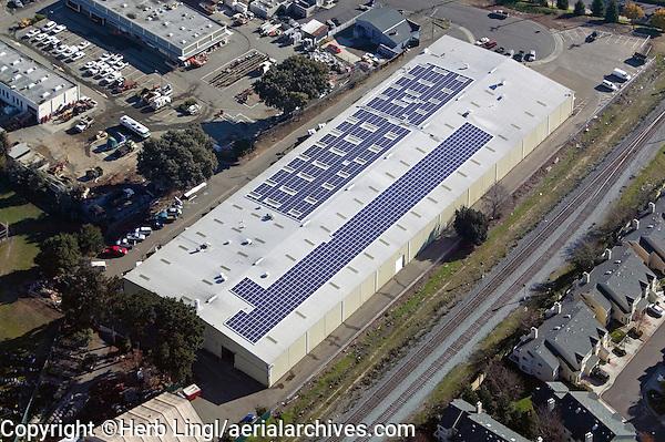 aerial above solar powered warehouse  Hayward, California San Francisco bay area