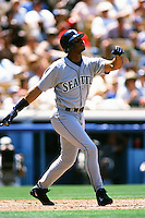 Ken Griffey jr. of the Seattle Mariners during a game against the Los Angeles Dodgers at Dodger Stadium circa 1999 in Los Angeles, California. (Larry Goren/Four Seam Images)