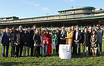 LEXINGTON, KY - April 07, 2018.  #11 Good Magic and jockey Jose Ortiz after winning the 94th running of The Toyota Blue Grass Grade 2 $1,000,000 for owner E Five Racing Thoroughbreds and trainer Chad Brown  at Keeneland Race Course.  Lexington, Kentucky. (Photo by Candice Chavez/Eclipse Sportswire/Getty Images)