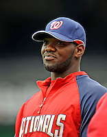 13 April 2008: Washington Nationals' outfielder Elijah Dukes awaits his turn in the batting cage prior to a game against the Atlanta Braves at Nationals Park, in Washington, DC. The Nationals ended their 9-game losing streak by defeating the Braves 5-4 in the last game of their 3-game series...Mandatory Photo Credit: Ed Wolfstein Photo