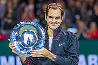 Rotterdam, The Netherlands, 18 Februari, 2018, ABNAMRO World Tennis Tournament, Ahoy, Singles final,   The winner of the 45th ABNAMROWTT  Roger Federer (SUI) with the trophy.<br /> Photo: www.tennisimages.com/henkkoster