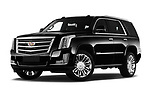 Stock pictures of low aggressive front three quarter view of 2019 Cadillac Escalade Platinum 5 Door SUV Low Aggressive