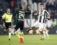 Calcio, Serie A: Torino, Juventus Stadium, 5 febbraio 2017.<br /> Inter Milan' Jeison Murillo (l) in action with Juventus' Paulo Dybala (r) during the Italian Serie A football match between Juventus and Inter Milan at Turin's Juventus Stadium, on February 5, 2017.<br /> UPDATE IMAGES PRESS/Isabella Bonotto