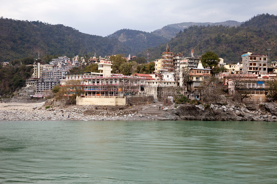 India, Rishikesh.  Hotels, guest houses, ashrams with River Ganges (Ganga).
