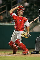 April 13, 2009:  Catcher Nick Derba (19) of the Palm Beach Cardinals, Florida State League Class-A affiliate of the St. Louis Cardinals, during a game at Hammond Stadium in Fort Myers, FL.  Photo by:  Mike Janes/Four Seam Images