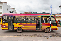 Peru, Cusco.  Local Transport.  Bus Stopped at Bus Stop.