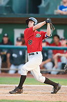 Jay Estes (18) of the Great Falls Voyagers bats against the Ogden Raptors at Lindquist Field on August 22, 2018 in Ogden, Utah. Great Falls defeated Ogden 3-1. (Stephen Smith/Four Seam Images)