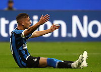 Football Soccer: UEFA Champions League -Group Stage- Group F Internazionale Milano vs Borussia Dortmund, Giuseppe Meazza stadium, October 23, 2019.<br /> Inter's Sebastiano Esposito reacts during the Uefa Champions League football match between Internazionale Milano and Borussia Dortmund at Giuseppe Meazza (San Siro) stadium, on October 23, 2019.<br /> UPDATE IMAGES PRESS/Isabella Bonotto