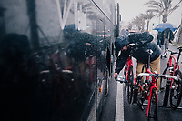 UCI commisaire checking for motor-doping at the race start in torrential rained down Nice<br /> <br /> 76th Paris-Nice 2018<br /> Stage 8: Nice > Nice (110km)