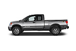 Car Driver side profile view of a 2014 Nissan Titan PRO 4-X King Cab 2WD 2 Door Truck Side View