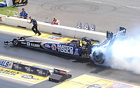 Aug. 21, 2011; Brainerd, MN, USA: NHRA top fuel dragster driver Antron Brown during the Lucas Oil Nationals at Brainerd International Raceway. Mandatory Credit: Mark J. Rebilas-