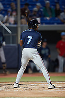 Armond Upshaw (7) of the Wilmington Blue Rocks at bat against the Hudson Valley Renegades at Dutchess Stadium on July 27, 2021 in Wappingers Falls, New York. (Brian Westerholt/Four Seam Images)