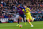 Nelson Semedo of FC Barcelona (L) fights for the ball with Alfonso Pedraza of Villarreal (R) during the La Liga 2018-19 match between FC Barcelona and Villarreal at Camp Nou on 02 December 2018 in Barcelona, Spain. Photo by Vicens Gimenez / Power Sport Images
