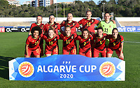 20200310  Lagos , Portugal : Belgian Davina Philtjens (2), Belgian Shari Van Belle (5), Belgian Tine De Caigny (6), Belgian Tessa Wullaert (9), Belgian Justine Vanhaevermaet (10), Belgian Janice Cayman (11), Belgian Elena Dhont (13), Belgian Laura De Neve (18), Belgian Julie Biesmans (20), Belgian Nicky Evrard (21) and Belgian Kassandra Missipo (23) posing for the teampicture pictured during the female football game between the national teams of Belgium called the Red Flames and Denmark on the third and last matchday for the 5th or 6th place of the Algarve Cup 2020 , a prestigious friendly womensoccer tournament in Portugal , on tuesday 10 th March 2020 in Lagos , Portugal . PHOTO SPORTPIX.BE | DAVID CATRY