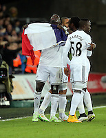 Pictured: Bafetimbi Gomis of Swansea celebrating his equaliser with a French flag Saturday 10 January 2015<br /> Re: Barclays Premier League, Swansea City FC v West Ham United at the Liberty Stadium, south Wales, UK