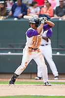Jacob May (1) of the Winston-Salem Dash at bat against the Frederick Keys at BB&T Ballpark on May 18, 2014 in Winston-Salem, North Carolina.  The Dash defeated the Keys 7-6.  (Brian Westerholt/Four Seam Images)