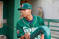 Fort Wayne TinCaps pitcher Luis Patino (26) in the dugout before a game against the West Michigan Whitecaps on May 17, 2018 at Parkview Field in Fort Wayne, Indiana.  Fort Wayne defeated West Michigan 7-3.  (Mike Janes/Four Seam Images)
