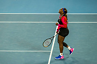 16th February 2021, Melbourne, Victoria, Australia; Serena Williams of the United States of America celebrates after winning her match during the quarterfinals of the 2021 Australian Open on February 16 2021, at Melbourne Park in Melbourne, Australia.