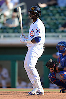 Mesa Solar Sox outfielder Jorge Soler (22), of the Chicago Cubs organization, during an Arizona Fall League game against the Scottsdale Scorpions on October 15, 2013 at HoHoKam Park in Mesa, Arizona.  Mesa defeated Scottsdale 7-4.  (Mike Janes/Four Seam Images)