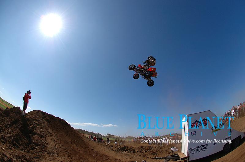 IMS freestyle ATV (all terrain vehicle) demo, Parker Ranch Rodeo grounds Waimea, Big Island, Hawaii