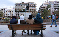 Pictured: Wednesday 09 March 2016<br /> Re: Migrants at Victoria Square, in central Athens, Greece.