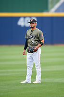 Nashville Sounds shortstop Franklin Barreto (9) before a game against the New Orleans Baby Cakes on April 30, 2017 at First Tennessee Park in Nashville, Tennessee.  The game was postponed due to inclement weather in the fourth inning.  (Mike Janes/Four Seam Images)